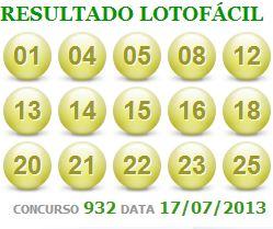 RESULTADO LOTOFÁCIL CONCURSO 932