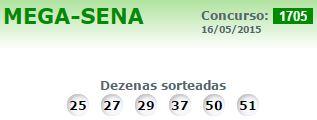 Mega Sena 1705  Resultado dia 16 Maio 2015