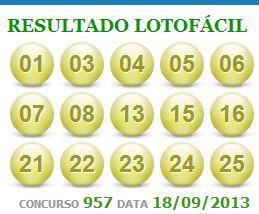 lotofacil 957 - dia 18 setembro